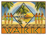 Waikiki, Hawaii - Cover of Hawaiian Travel Brochure Print