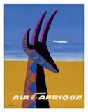 Air Afrique - Gazelle Lámina giclée por Bernard Villemot