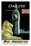 Pan American Airlines (PAA) - England And All Of Europe- Big Ben and British Flag Posters by A. Amspoker
