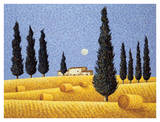 Cypress and Hay Art by Lowell Herrero