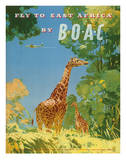 British Overseas Airways Corporation - Fly to East Africa by BOAC - Giraffes Giclee Print by Frank Woutton