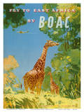 British Overseas Airways Corporation - Fly to East Africa by BOAC - Giraffes Prints by Frank Woutton
