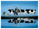 Delta Cows Poster by Lowell Herrero