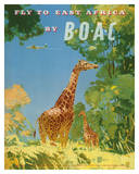 British Overseas Airways Corporation - Fly to East Africa by BOAC - Giraffes Giclée-tryk af Frank Woutton