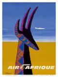 Air Afrique - Gazelle Plakater af Bernard Villemot