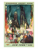 Scandinavian Airlines System - New York by SAS - New York City Times Square Giclée-tryk af Otto Nielsen