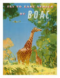 British Overseas Airways Corporation - Fly to East Africa by BOAC - Giraffes Impressão giclée por Frank Woutton