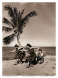 Hula Dancers on the Beach, Hawai'i Posters af Alan Houghton