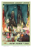 Scandinavian Airlines System - New York by SAS - New York City Times Square Prints by Otto Nielsen