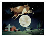 Cow Jumps over the Moon Lámina por Lowell Herrero