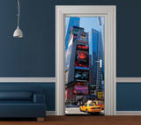 New York Bright Lights Door Wallpaper Mural Vægplakat i tapetform