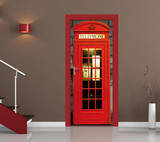 British Phone Box Door Wallpaper Mural Veggoverføringsbilde