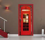 Englische Telefonzelle Türposter Fototapete Wandgemälde
