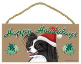 Happy Howlidays Papillon (Black And White) Wood Sign Wood Sign