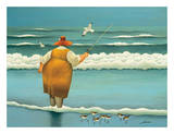 Surfside Fishing Print by Lowell Herrero