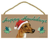 Happy Howlidays Greyhound (Brown Color) Wood Sign Wood Sign