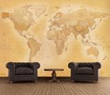 Weltkarte Sepia Fototapete Wandgemälde