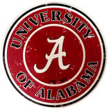 University of Alabama Round Tin Sign Tin Sign