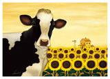Sunflower Cow Print by Lowell Herrero