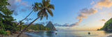 Caribbean, St Lucia, Soufriere, Soufriere Bay, Soufriere Beach and Petit Piton Fotografisk tryk af Alan Copson