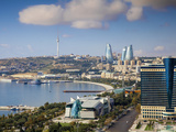 Azerbaijan, Baku, View of City Looking Towards Hilton Hotel Photographic Print by Jane Sweeney