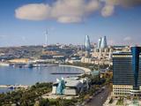 Azerbaijan, Baku, View of City Looking Towards Hilton Hotel Photographic Print by Jane Sweeney
