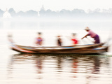 boatman Taking Tourists in Traditional Boat Across Taungthaman Lake, Amarapura, Burma (Myanmar) Photographic Print by Nadia Isakova