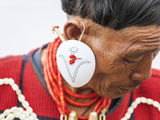 Yimchunger Tribesman With Earring, Nagaland, N.E. India Photographic Print by Peter Adams