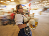 Germany, Bavaria, Munich, Oktoberfest, Waitress With Beer Steins Photographic Print by Steve Vidler