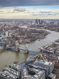 UK, England, London, View of London from the Shard, Looking Over Tower Bridge To Canary Wharf Fotografiskt tryck av Jane Sweeney