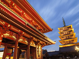 Japan, Tokyo, Asakusa, Asakusa Kannon Temple, Hozomon Gate and Temple Pagoda Photographic Print by Steve Vidler
