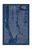 Blueprint Map New York Giclee-tryk i høj kvalitet af Sue Schlabach