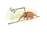 Anteater seasoning ants prior to eating them.  - Cartoon Regular Giclee Print by Emily Flake