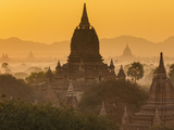 Ancient Temple City of Bagan (Also Pagan) at Sunrise, Myanmar (Burma) Photographic Print by Peter Adams
