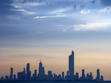 Kuwait, Kuwait City, Salmiya, Arabian Gulf and City Skyline Looking Towards Al Hamra Tower Fotografiskt tryck av Jane Sweeney