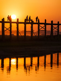 U Bein Bridge (Longest Teak Bridge in the World) at Sunset , Amarapura, Mandalay, Burma (Myanmar) Photographic Print by Nadia Isakova
