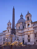 Italy, Rome, Piazza Navona, Fountain of the Four Rivers and Sant' Agnese in Agone Church Photographic Print by Steve Vidler