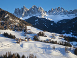 Winter Landscape of St. Magdalena Village and Church, Italy, Europe Photographic Print by Gavin Hellier
