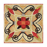 Bohemian Rooster Tile Square I Giclee Print by Daphne Brissonnet