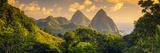 Caribbean, St Lucia, Petit and Gros Piton Mountains (UNESCO World Heritage Site) Photographic Print by Alan Copson