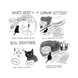 """What's next for the Subway Kittens"" - Cartoon Regular Giclee Print by Emily Flake"
