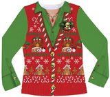 Womens Long Sleeve: Ugly Xmas Vest Costume Tee T-shirts