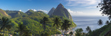Caribbean, St Lucia, Petit and Gros Piton Mountains Fotografisk tryk af Alan Copson