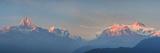 Nepal, Pokhara, Sarangkot, Panoramic View of Annapurna Himalaya Mountain Range Fotografisk tryk af Michele Falzone
