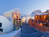 Restaurants in the Village of Oia, Santorini, Cyclades Islands, Aegean Sea, Greece, Europe Photographic Print by Gavin Hellier