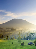 Indonesia, Bali, Sidemen Valley, Iseh, Rice Fields and Gunung Agung Volcano Photographic Print by Michele Falzone