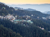 India, Himachal Pradesh, Shimla, View of Mountains from  at Dawn Photographic Print by Jane Sweeney