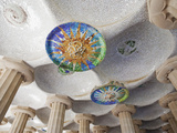 Spain, Barcelona, Guell Park, Ceiling Detail in the Hall of Columns Photographic Print by Steve Vidler