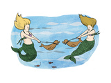 Mermaids holing their sea lion pups away from each other. - Cartoon Regular Giclee Print by Emily Flake