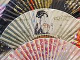 Japan, Tokyo, Asakusa, Asakusa Kannon Temple, Nakamise Shopping Street, Detail of Fans Photographic Print by Steve Vidler